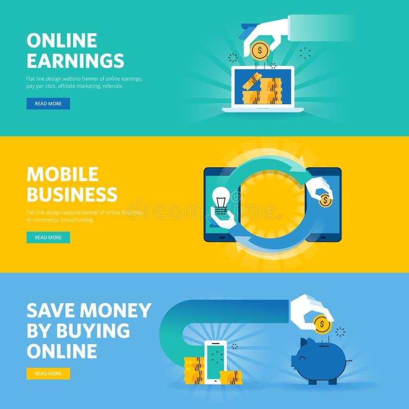De reeks vlakke het Webbanners van het lijnontwerp voor online het verdienen, betaalt per klik, mobiele zaken, m-handel royalty-vrije illustratie