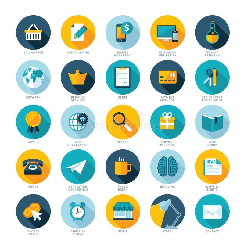 De reeks vlakke ontwerppictogrammen voor Elektronische handel, betaalt per c stock illustratie