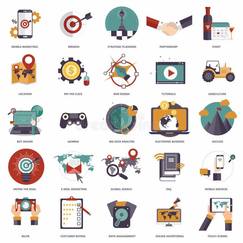 De reeks vlakke ontwerppictogrammen voor zaken, betaalt per klik, creatief proces, het zoeken, Webanalyse, werkschema, het online stock illustratie