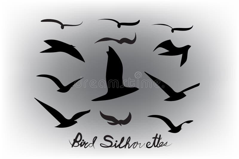 De reeks vogels silhouetteert vectorpictogram royalty-vrije illustratie