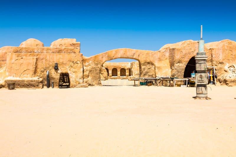 De reeks voor de Star Wars-film bevindt zich nog in de Tunesische woestijn royalty-vrije stock fotografie