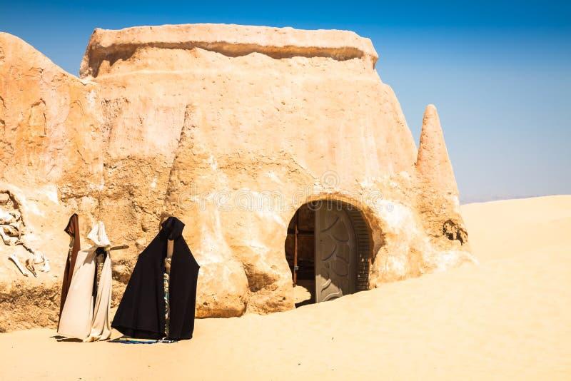 De reeks voor de Star Wars-film bevindt zich nog in de Tunesische woestijn royalty-vrije stock afbeeldingen