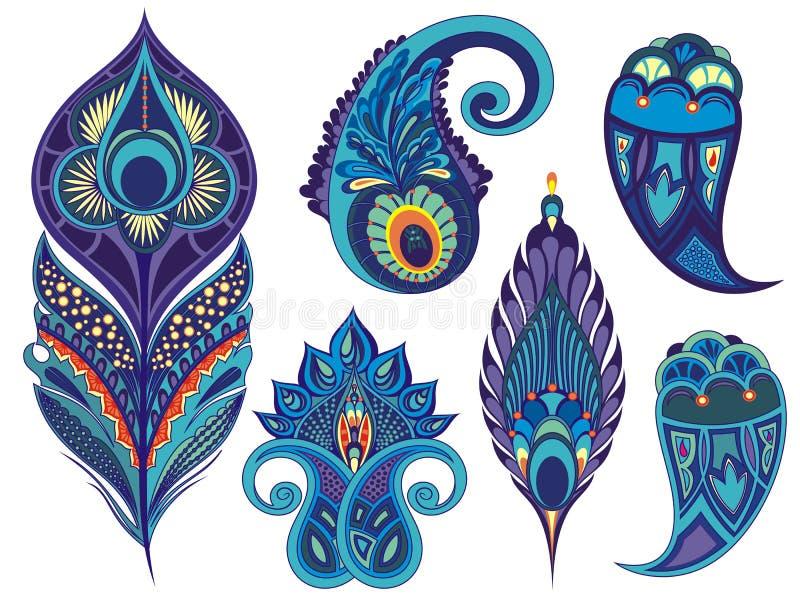 De reeks voor ontwerp met pauw bevedert, gaat weg, bloeit en decoratieve elementen vector illustratie