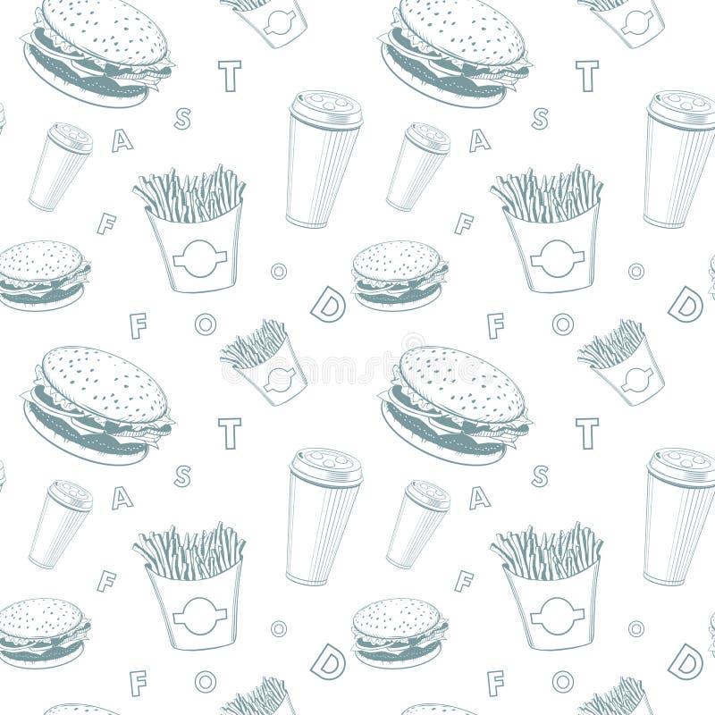 De reeks wit en blauw fast-food van het koffievoedsel vectormonogrampatroon royalty-vrije illustratie