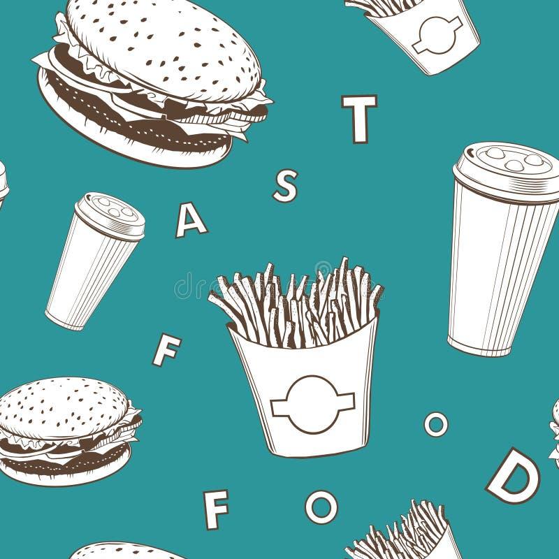 De reeks wit en groen en zwart fast-food van het Afevoedsel vectormonogrampatroon royalty-vrije illustratie