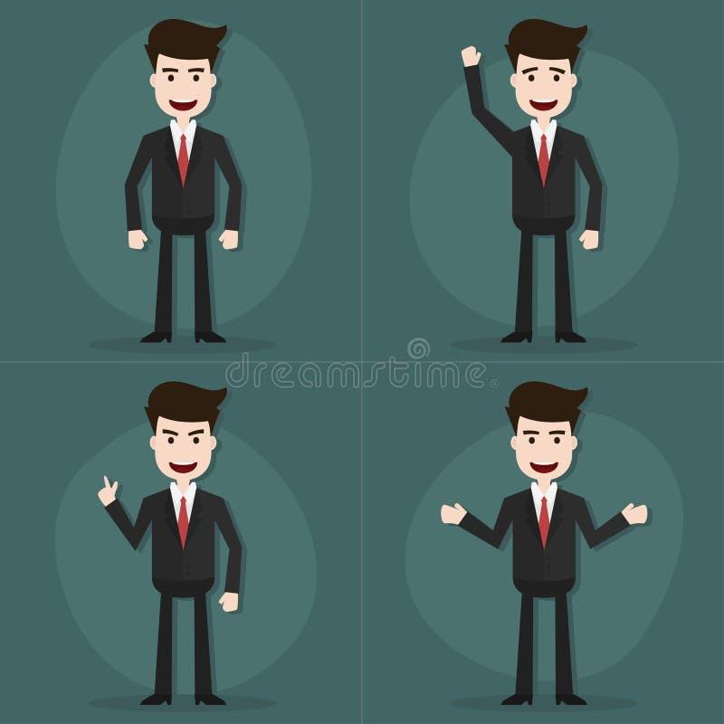De reeks zakenmankarakters stelt royalty-vrije illustratie