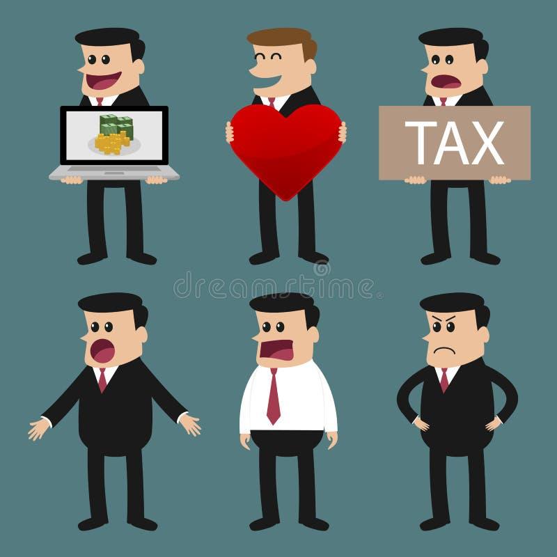 De reeks zakenmankarakters stelt, beambte vector illustratie