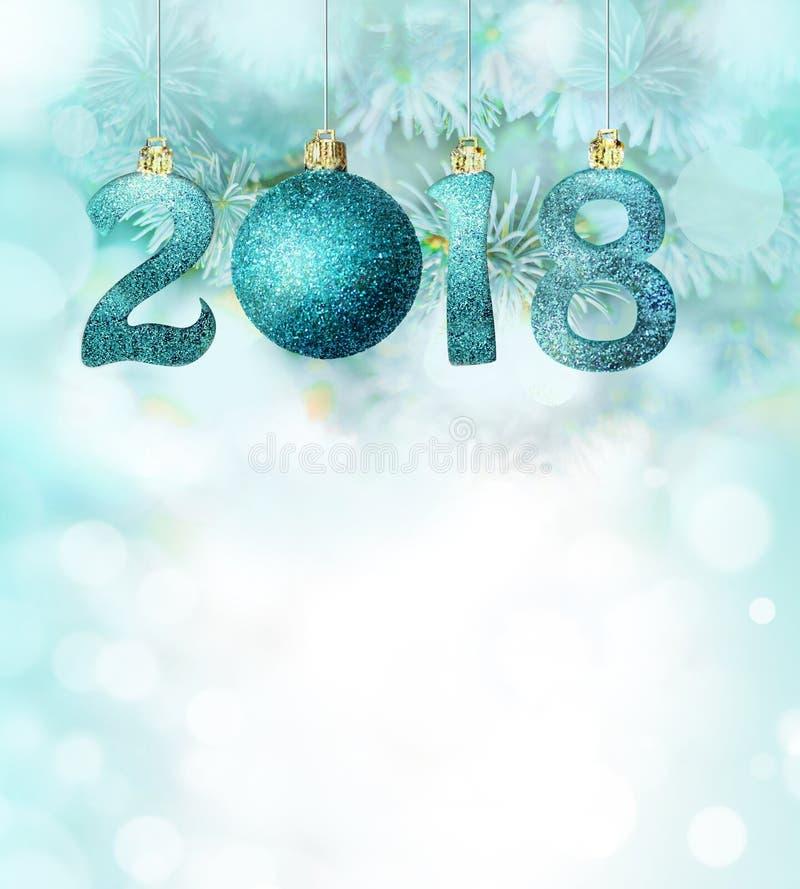 De reeks zilveren glanzende cijfers schittert achtergrond Nieuwe jaar 2018 achtergrond Kerstmis stock foto's
