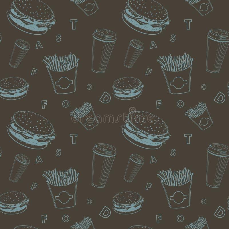 De reeks zwart en blauw fast-food van het koffievoedsel vectormonogrampatroon stock illustratie