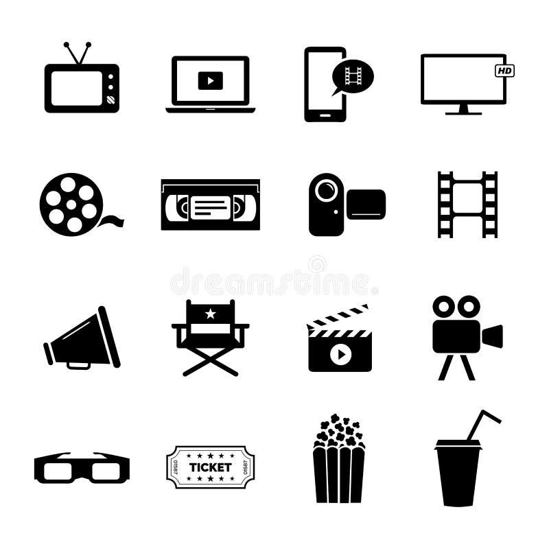 De reeks zwarte vlakke pictogrammen had op bioskoop, films en de filmindustrie betrekking stock illustratie
