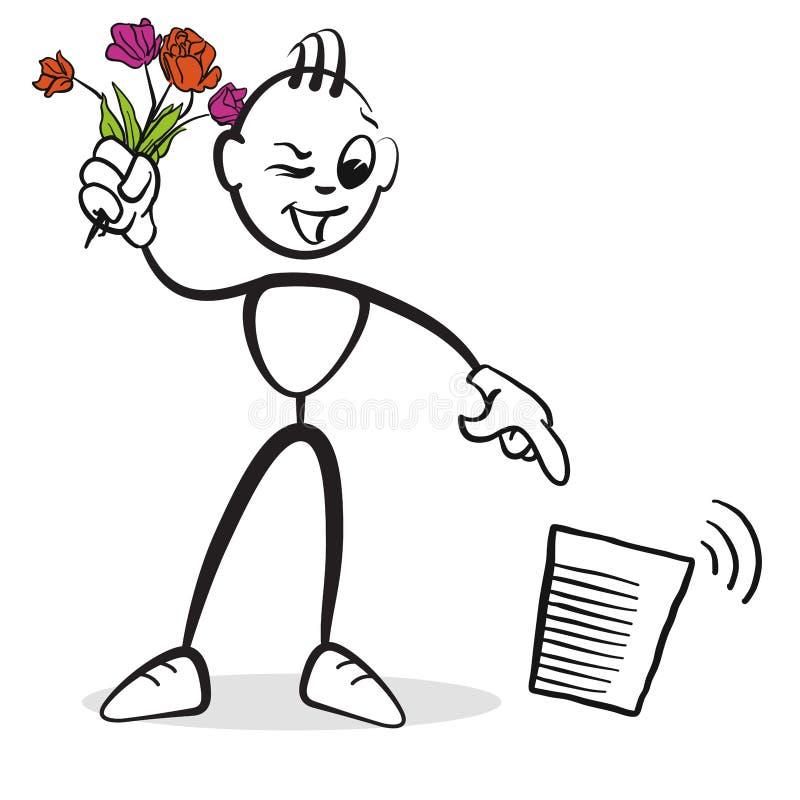 De reeksemoties van het stokcijfer - verwijder de bloemen royalty-vrije illustratie