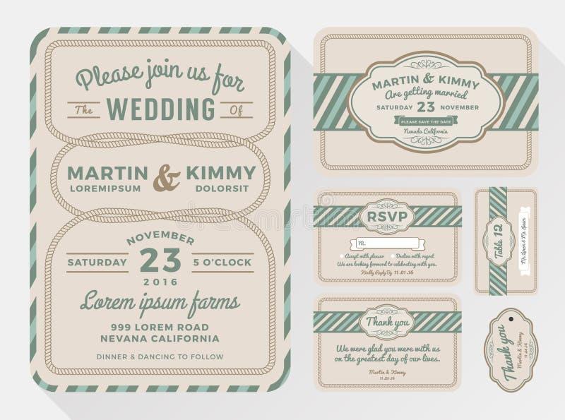 De reeksen van de huwelijksuitnodiging voor uw mooi en vriendschappelijk vieringsontwerp royalty-vrije illustratie