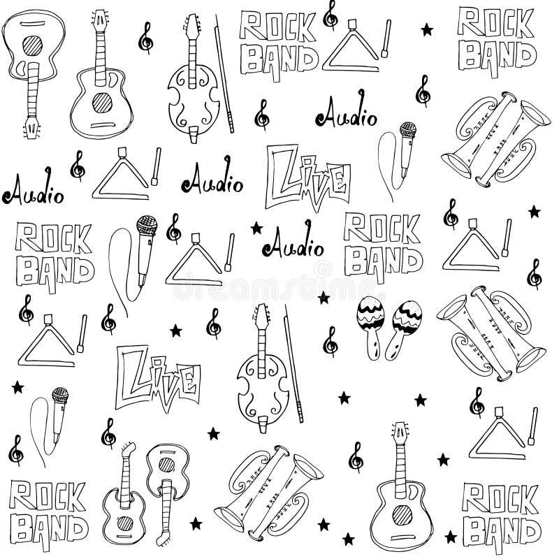 De reekskrabbels van muziekhulpmiddelen vector illustratie