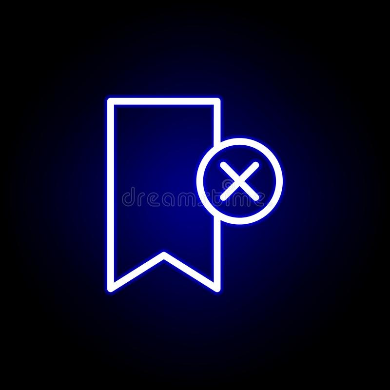 De referentie, schrapt, kruist pictogram in neonstijl Kan voor Web, embleem, mobiele toepassing, UI, UX worden gebruikt vector illustratie