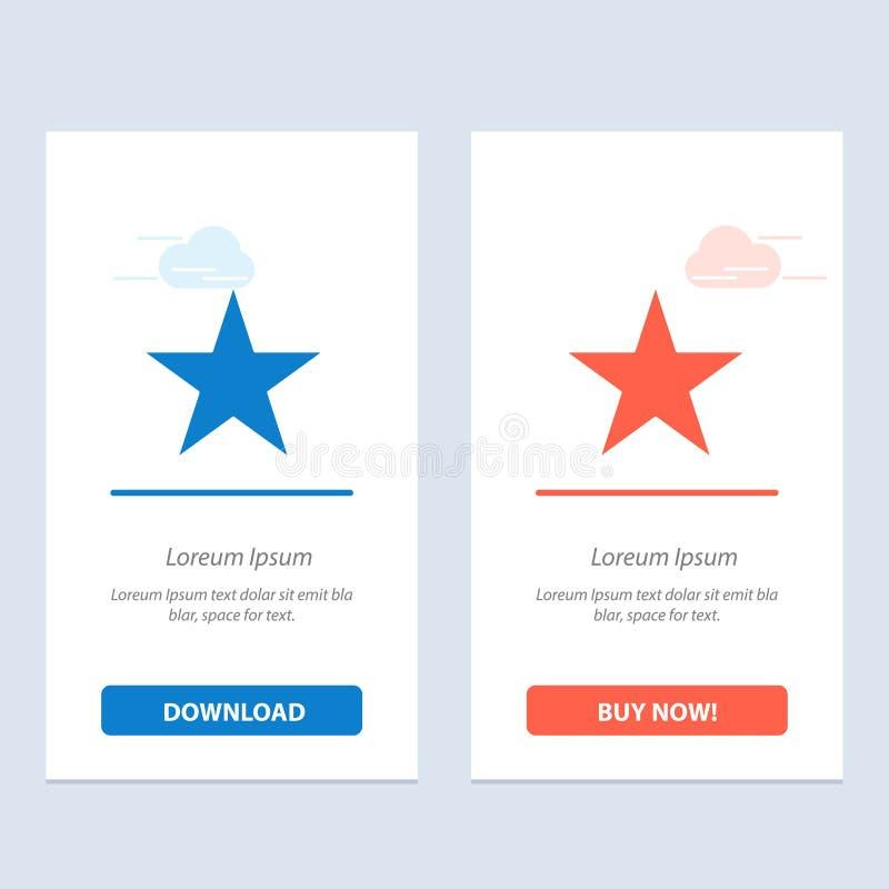 De referentie, de Ster, Media de Blauwe en Rode Download en kopen nu de Kaartmalplaatje van Webwidget stock illustratie