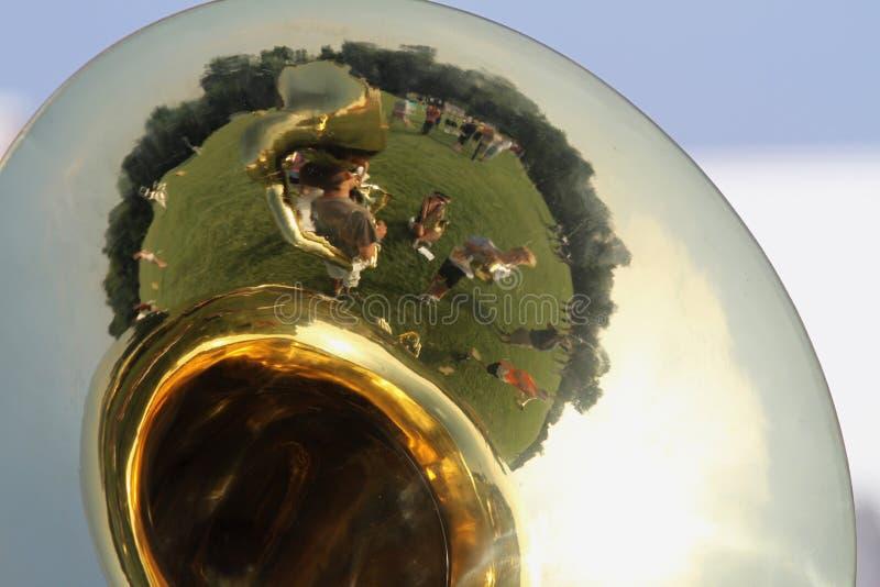 De Reflectie van het Camp van de Band van de Marching stock foto's