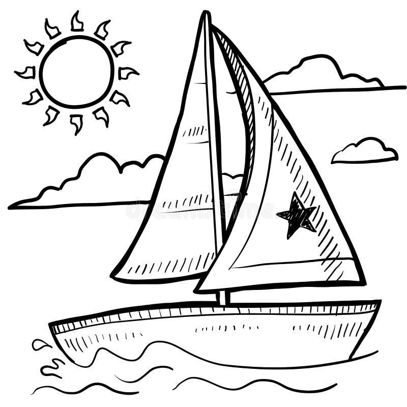 De regatta vectorschets van de zeilboot stock illustratie