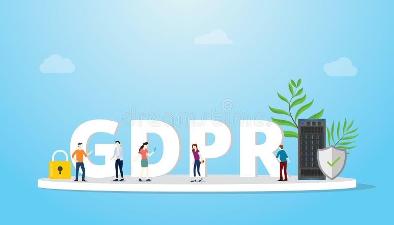De regelgeving van de Gdpr algemeen gegevensbescherming concept met grote tekst en teammensenbespreking - vector vector illustratie