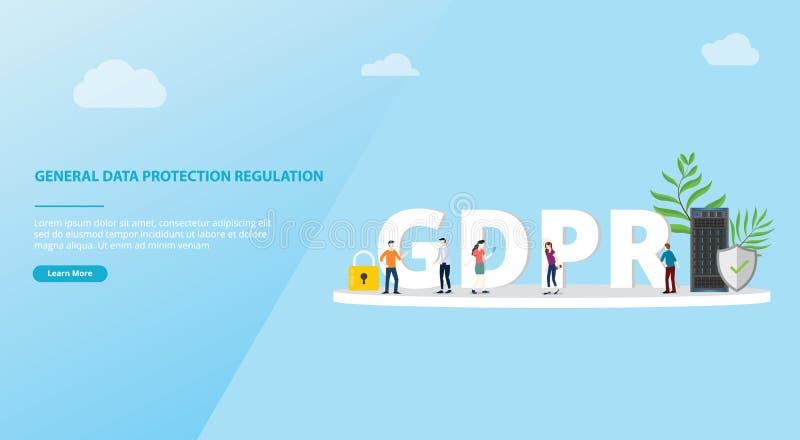 De regelgeving van de Gdpr algemeen gegevensbescherming concept voor de bannerruimte van het websitemalplaatje - vector vector illustratie