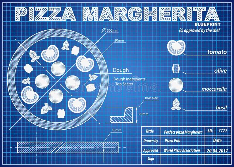 De regeling van de de ingrediëntenblauwdruk van pizzamargherita royalty-vrije illustratie