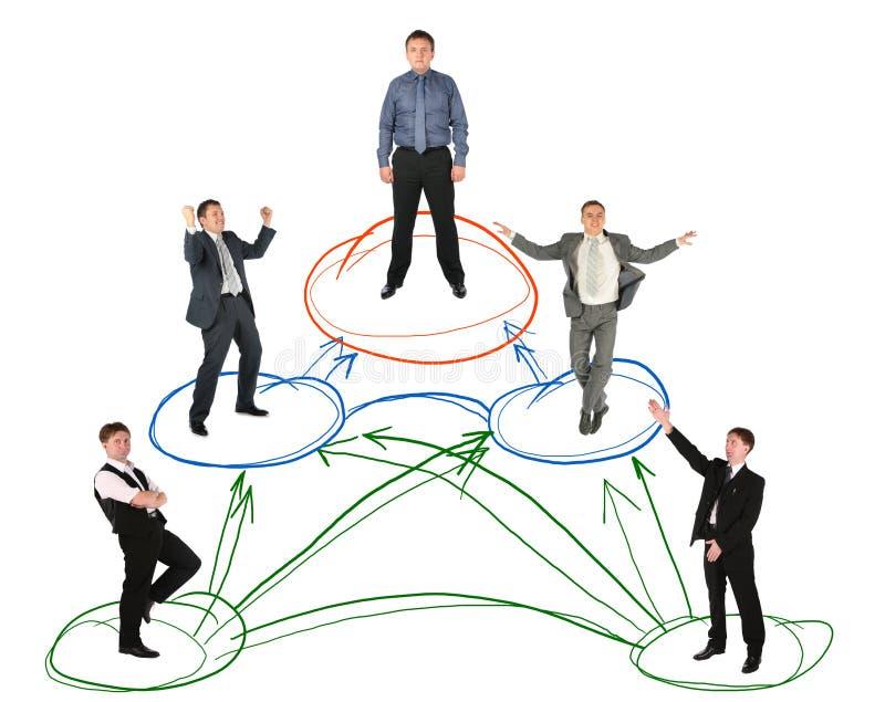 De regeling van de de zakenmantekening van het voorzien van een netwerk op wit stock foto