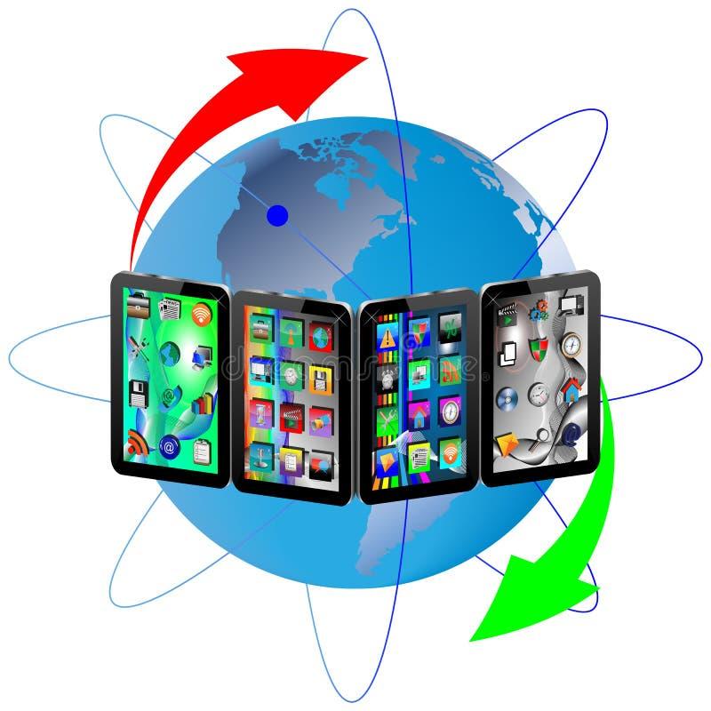 Tabletten en Aarde vector illustratie