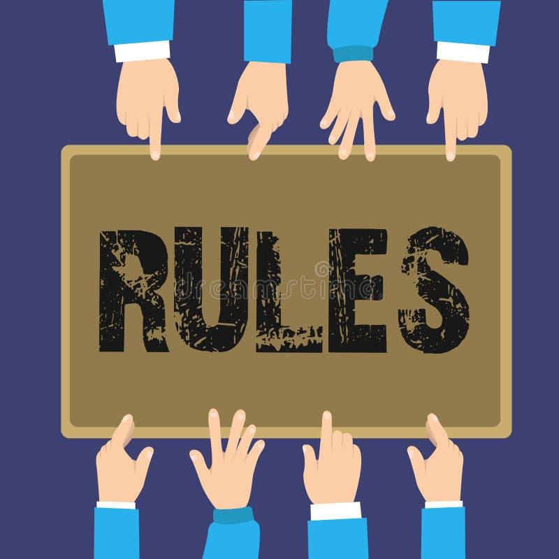 De Regels van de handschrifttekst Concept die gezag van de oefenings het uiteindelijke macht over gebied en zijn mensenverordenin royalty-vrije illustratie