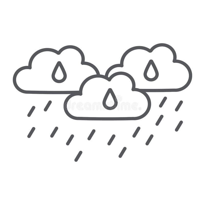 De regen betrekt dun lijnpictogram, weer en voorspelling, regenachtig dagteken, vectorafbeeldingen, een lineair patroon op een wi vector illustratie