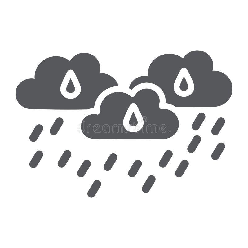 De regen betrekt glyph pictogram, weer en voorspelling, regenachtig dagteken, vectorafbeeldingen, een stevig patroon op een witte vector illustratie