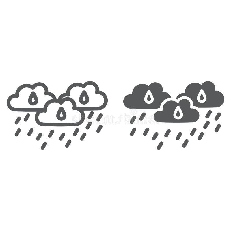 De regen betrekt lijn en glyph pictogram, weer en voorspelling, regenachtig dagteken, vectorafbeeldingen, een lineair patroon op  vector illustratie