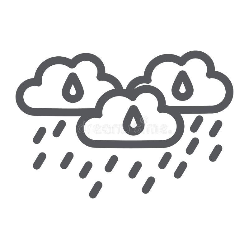 De regen betrekt lijnpictogram, weer en voorspelling, regenachtig dagteken, vectorafbeeldingen, een lineair patroon op een witte  royalty-vrije illustratie