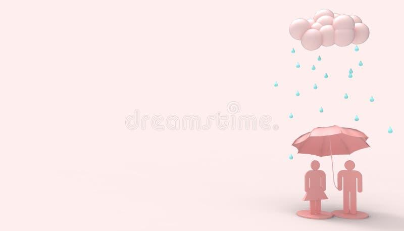 De regen betrekt Zwart-wit Valentine-dag en Mensensymbool in liefde die het Roze Moderne art. van het paraplu's minimale concept  royalty-vrije illustratie