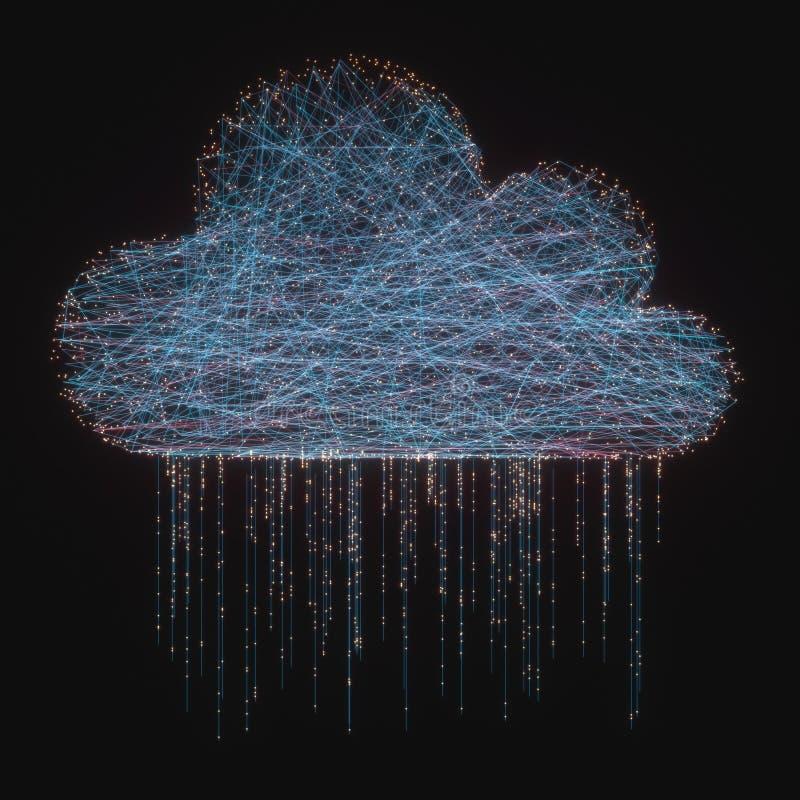De regen van de gegevensverwerkingsgegevens van de wolk stock illustratie