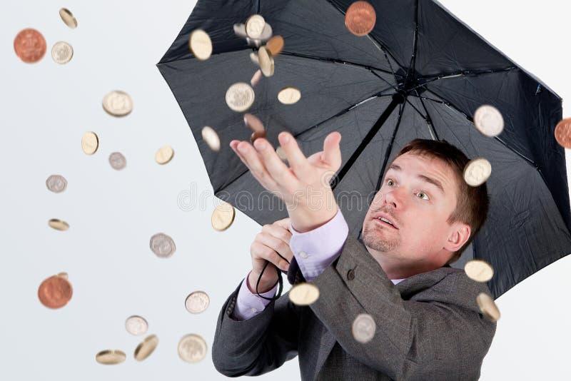 De regen van het geld stock foto's