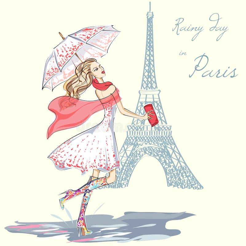 De regenachtige dag van het maniermeisje in Parijs vector illustratie