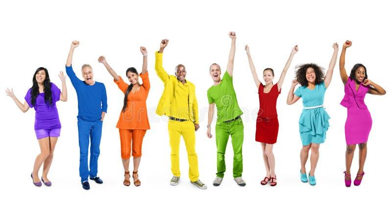 De regenboog als thema had Multi-etnische Mensen stock fotografie