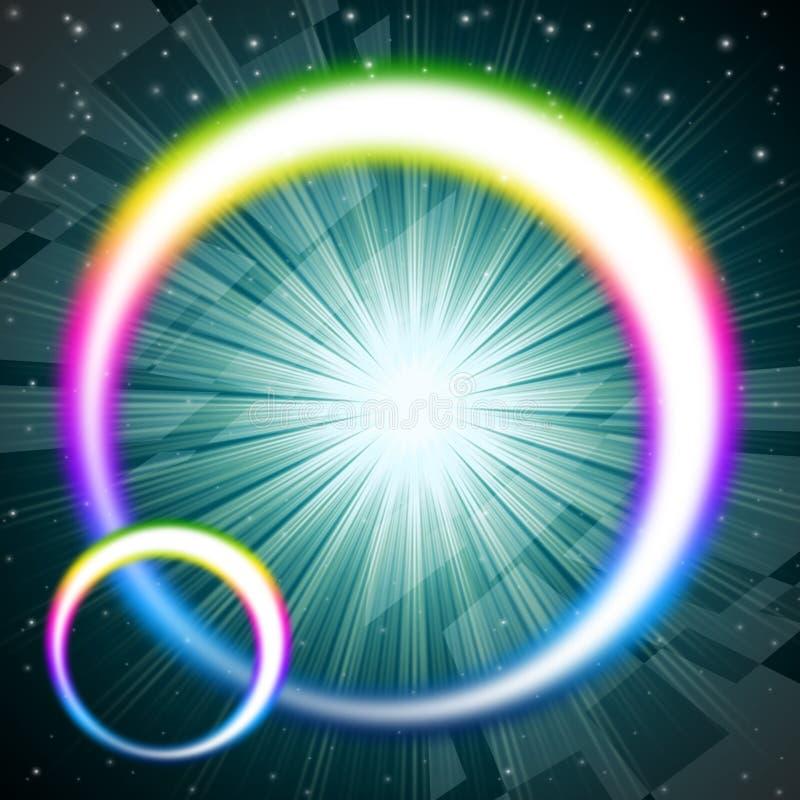 De regenboog omcirkelt Achtergrondmiddelen Kleurrijke Ronde en Briljante St royalty-vrije illustratie