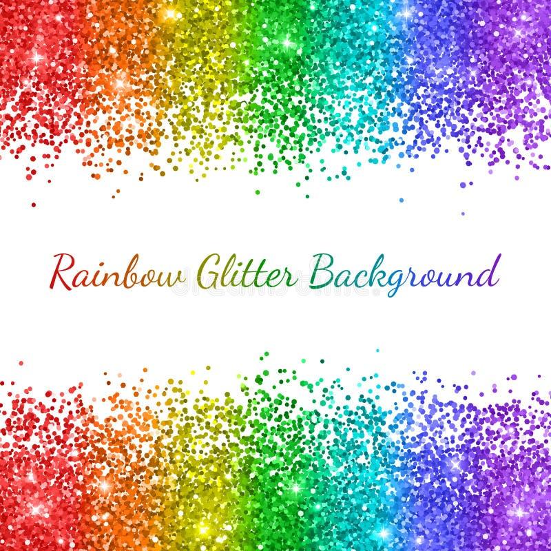 De regenboog schittert op witte achtergrond, verticale strepen Vector stock illustratie