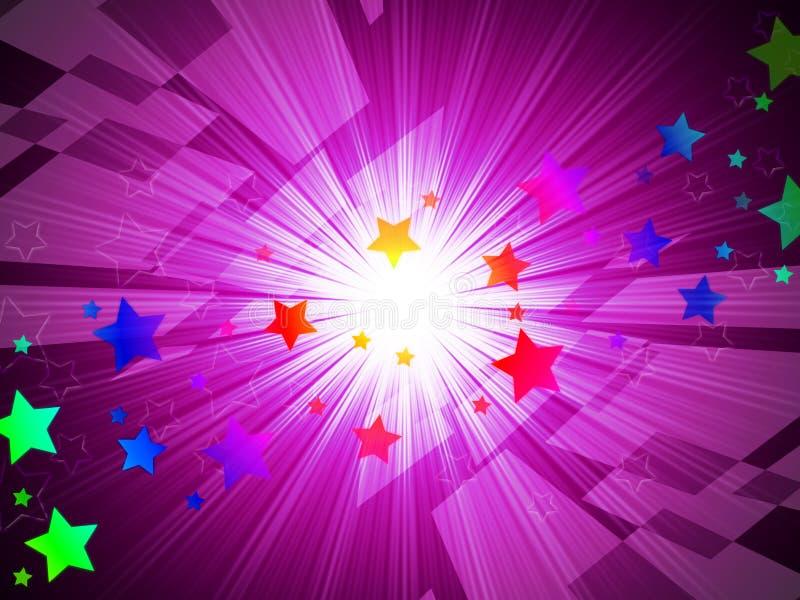 De regenboog speelt Achtergrondmiddelenastronomie en Lichtstralen mee stock illustratie