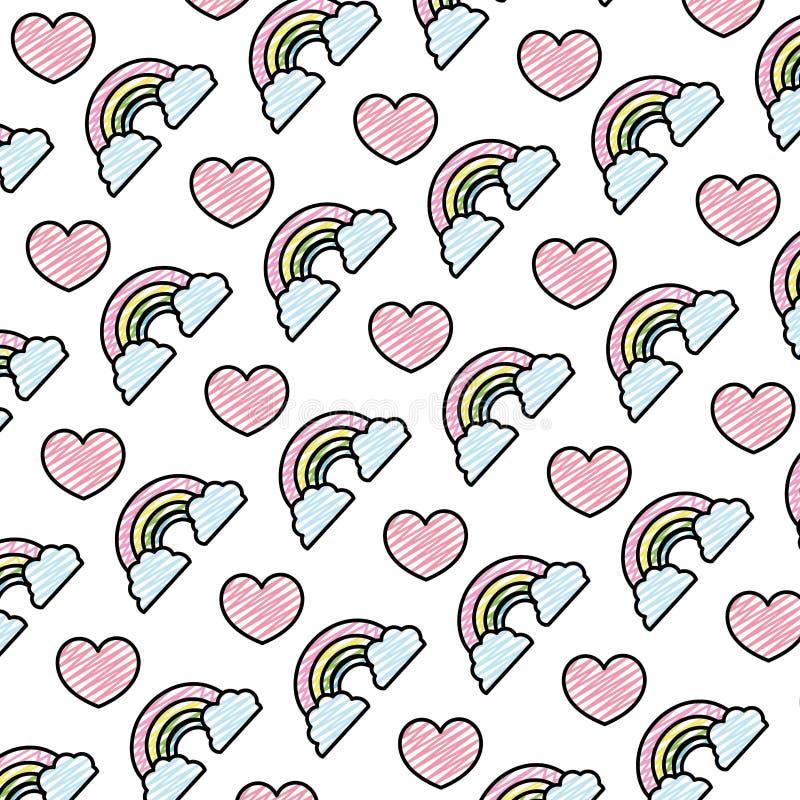 De regenboog van de krabbelaard met wolken en hartachtergrond vector illustratie