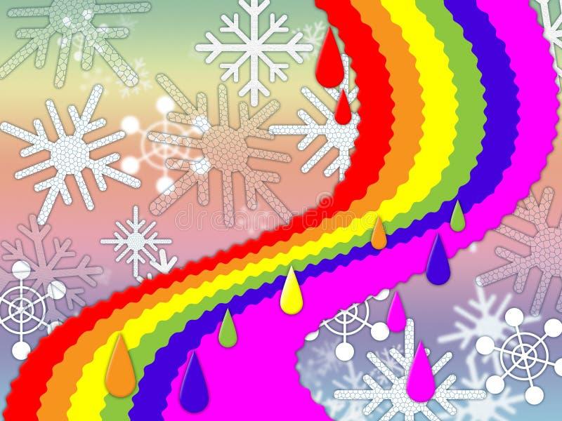 De regenboogachtergrond betekent de Sneeuwende Winter en Belofte vector illustratie