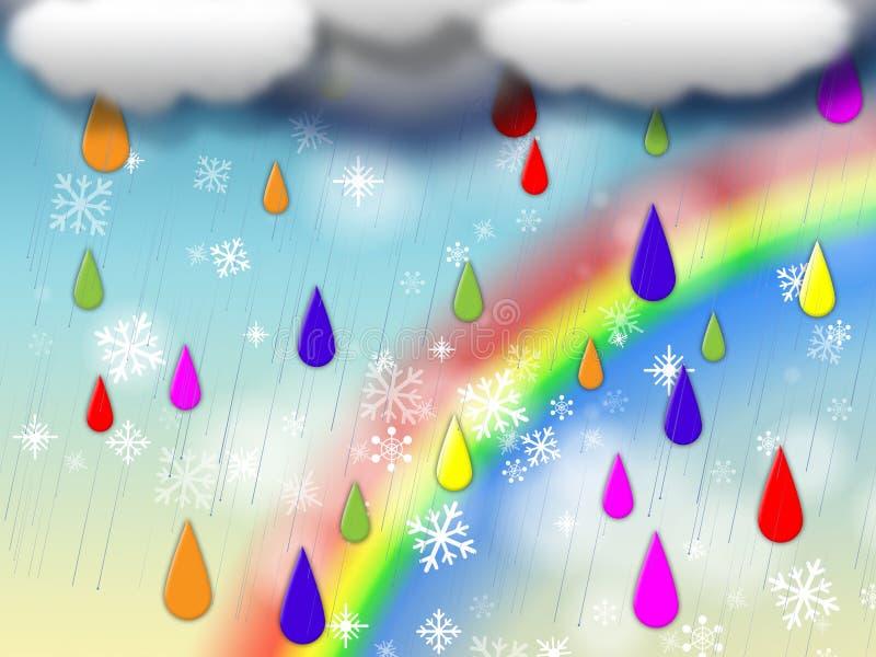 De regenboogachtergrond toont Kleurrijke Regen en het Sneeuwen stock illustratie