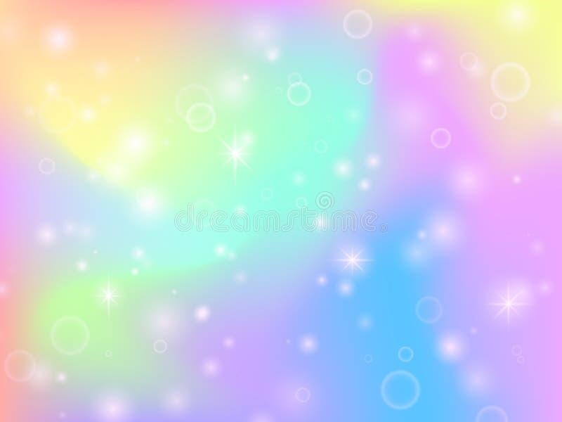 De regenboogachtergrond van de feeeenhoorn met magische fonkelingen en sterren Veelkleurige fantasie abstracte vectorachtergrond stock illustratie