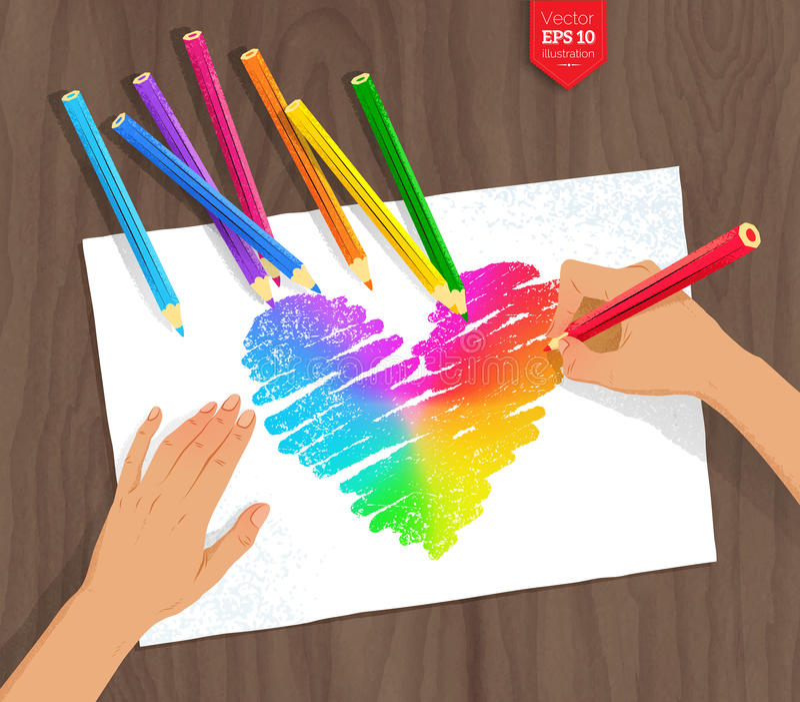 De regenbooghart van de handtekening met kleurenpotloden vector illustratie