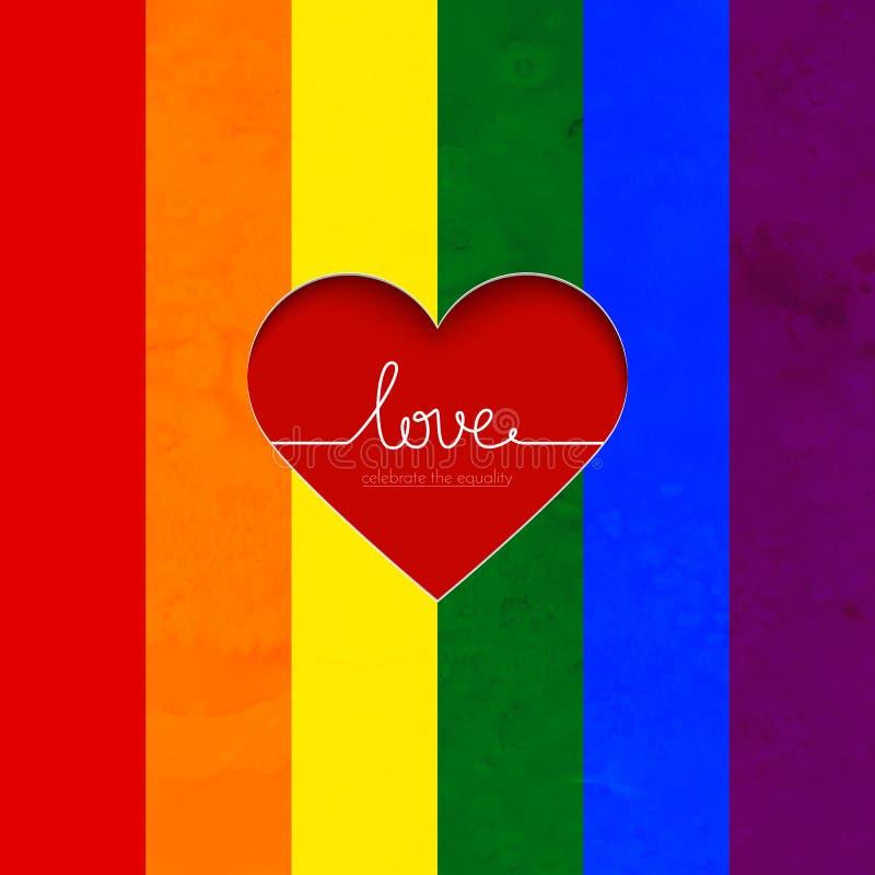 De regenboogkaart met hart viert de gelijkheid stock illustratie
