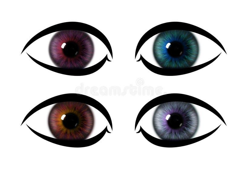 De regenboogoog van het kleurenpatroon de texturen van de oogiris vector illustratie