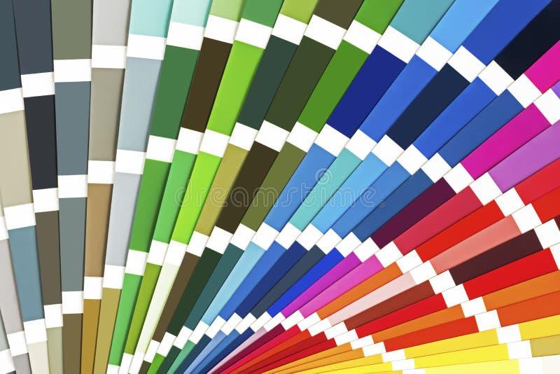 De regenboogsteekproef kleurt catalogus Het Paletachtergrond van de kleurengids stock afbeeldingen