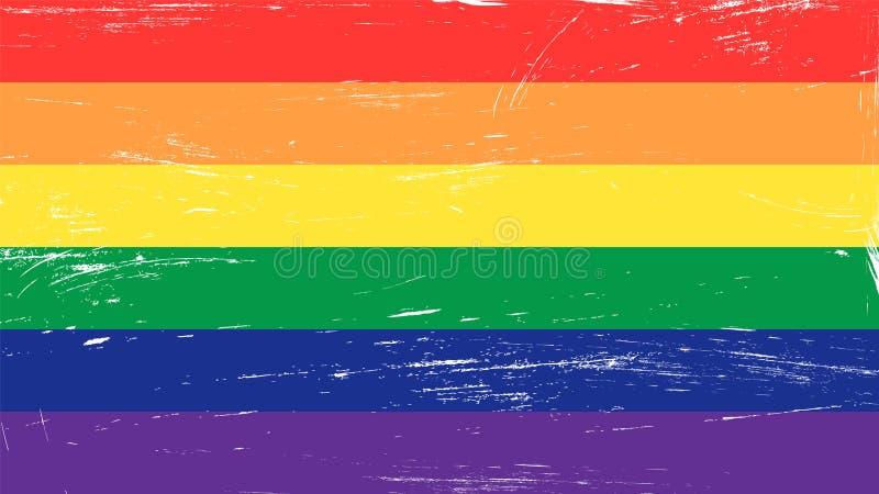 De regenboogvlag van de Grungeglbt trots vector illustratie