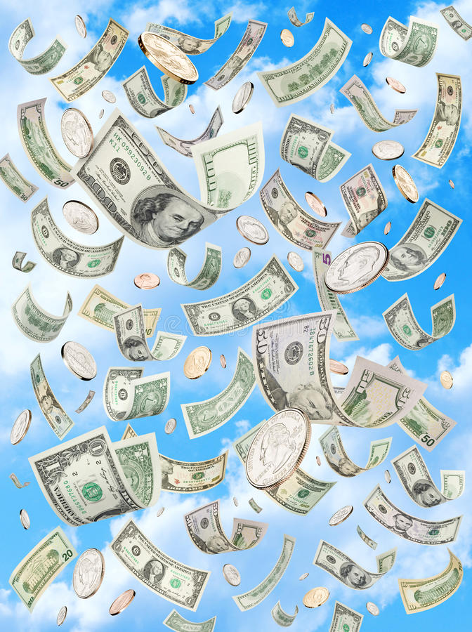 De Regenende Dalende Dollars Van De Hemel Van Het Geld Stock Afbeelding