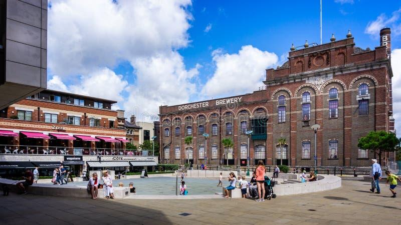 De regeneratie van het stadscentrum van Eldridge Pope Brewery Site Dorchester stock afbeeldingen